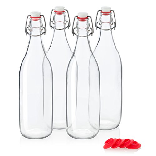 Swing Top Glass Bottles 32oz / 1 Litre - CERAMIC TOPS - Giara Glass Bottles With Stopper Caps - Flip Top Water Bottles - Clear [4pk Set] ()