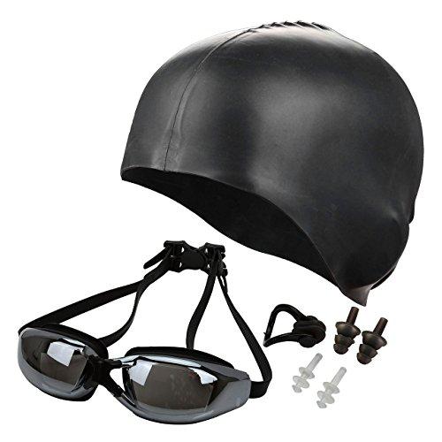 Ayliss Panoramic Swim Gear,Goggles + Cap + Ear & Nose Plugs,High Definition Anti Fog No Leaking - Googles Swiming