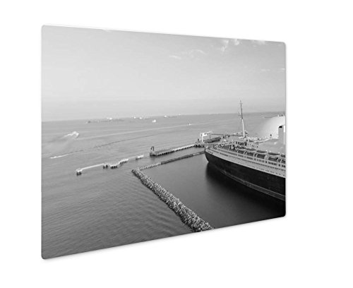 Ashley Giclee Aerial View Of Rms Queen Mary Ocean Liner Long Beach Ca, Wall Art Photo Print On Metal Panel, Black & White, 16x20, Floating Frame, AG6443329