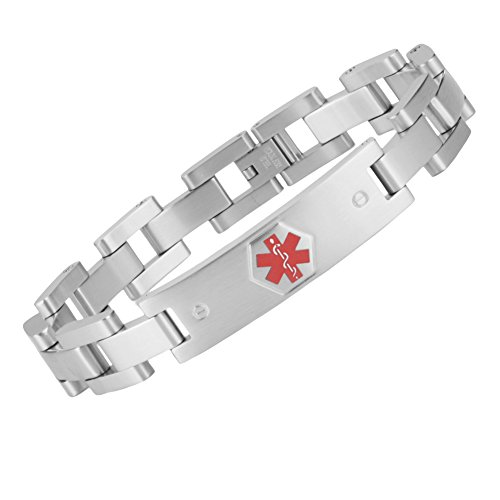 (Tarring The military style medical id bracelet jewelry for men and women(STEEL)(8.5))