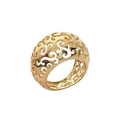 So Chic Jewels - Ladies 18k Gold Plated Carved Arabesque Band Ring - Size 6