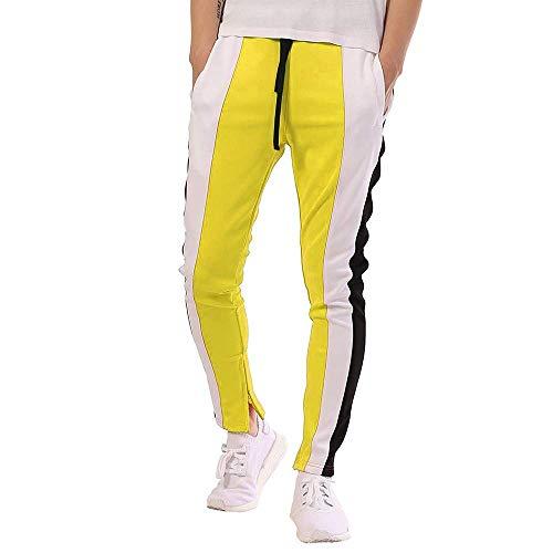 Offbeat Sense Mens Slim Fit Track Pants Striped Joggers Sweatpants Color Block Training Pants(Yellow-Medium) (Aero Sweatpants Men)