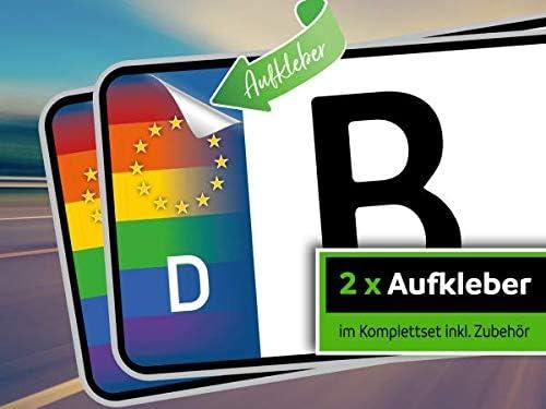 Rednow 2 Stück Nummernschild Kennzeichen Aufkleber Eu Feld In Regenbogen Farben überkleben Auto
