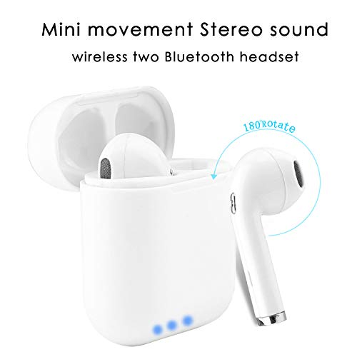 SHAREPARK Wireless Earbuds Stereo Bluetooth Headphones Earphones Earbud with Mic Most Mini In-Ear Earbuds Earpiece Sweatproof Sports Earbuds with Charging Case 180° Rotating for all Smart Phone Device