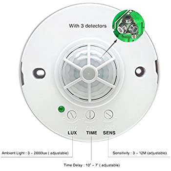 Sensky 360 Degree Ceiling Mounted Occupancy Sensor High Sensitivity PIR Motion Sensor Switch with 3 detectors Time Distance and Light Adjustable (Max ...