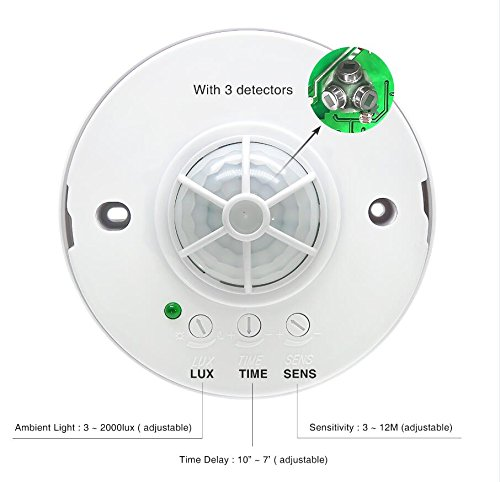 Sensky 360 degree Ceiling Mounted Occupancy Sensor Time delay, Sensor Distance and Light Sensor Adjustable Motion Sensor Switch with 3 detectors (Max Detection Distance:12 M) Ceiling Motion Detector