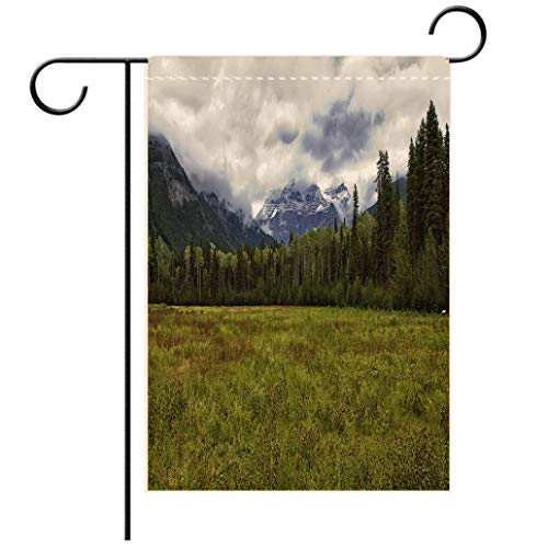 - BEISISS Double Print Garden Flag Outdoor Flag House FlagBannerMount Robson in The Fog BC; Canada Decorated for Outdoor Holiday Gardens