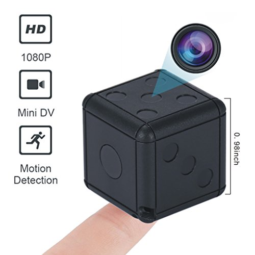 Mini Spy Hidden Camera,Full HD Small Secret Toy Dice Camera with Motion Detection&Night Vision,Wireless Hidden Body Security Cams for Home,Office and Meeting,Built-in 230mAh Battery Lasts 50mins,Black ()