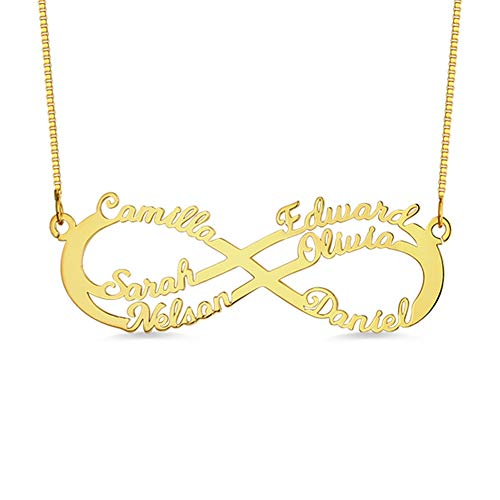 (Personalized 6 Names Infinity Necklace in 925 Sterling Silver Custom Made with Any Name (Gold))