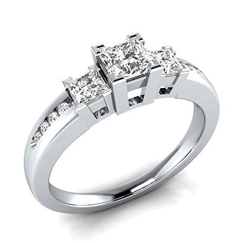 iZion Women 925 Sterling Silver Ring, Princess Cut Square White Cubic Zirconia CZ Eternity Bridal Engagement Wedding Band Ring for Anniversary (White, 9) - Princess Cut Rhinestone