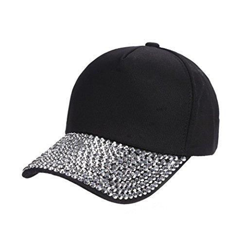 BSGSH Women Fashion Baseball Cap Studded Rhinestone Bling Adjustable Outdoor Sport Hat (Black)