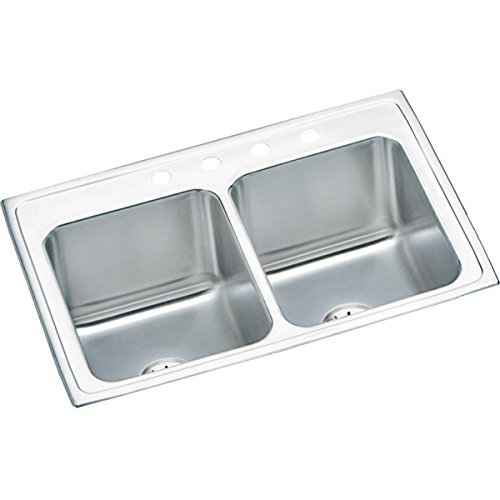 Elkay DLR332210PD4 Lustertone Classic Equal Double Bowl Drop-in Stainless Steel Sink with Perfect Drain