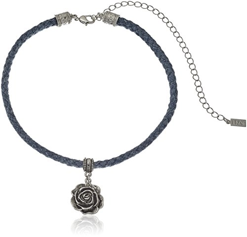 1928 Jewelry Blue Rope Silver-Tone Flower Pendant Adjustable Choker Necklace, 12