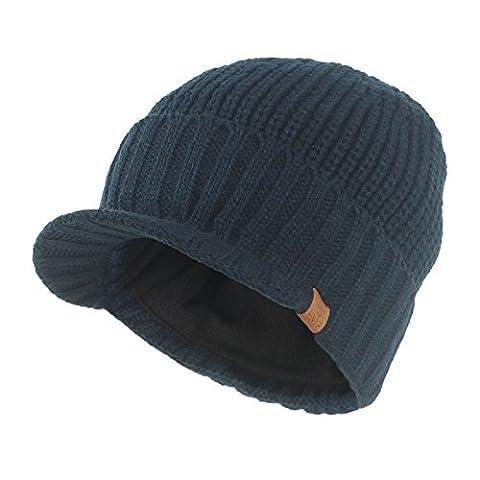 Janey&Rubbins Knit Visor Brim Beanie Hats Fleece Lined Skull Ski Caps (Blue)