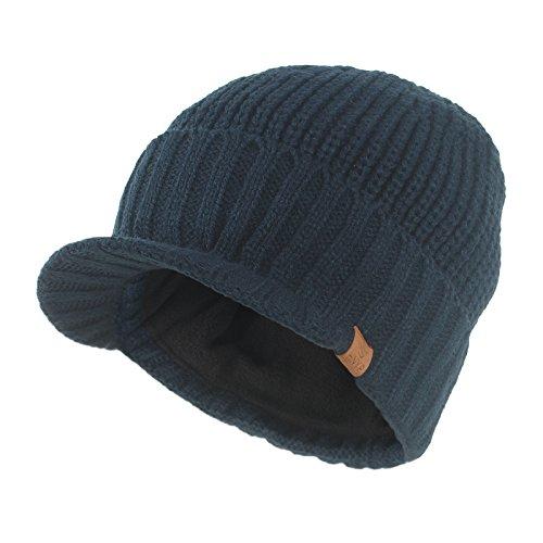 Janey&Rubbins Knit Visor Brim Beanie Hats Fleece Lined Skull Ski Caps (Blue) ()