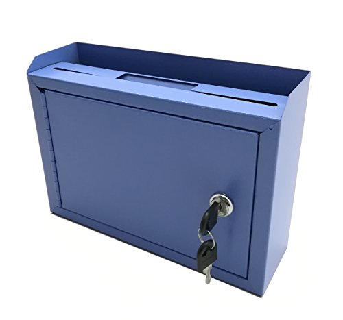 FixtureDisplays 10 x 7.2 x 3'', Metal Multipurpose, Donation Box,Cash and Mail Box,Suggestion Box 15211 blue by FixtureDisplays