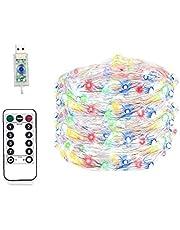 USB LED-lampjes String 8 Modi 50 LED's Afstandsbediening Timer Waterdichte Fairy Light Koper Draad Indoor Outdoor Decoratie voor Indoor Outdoor