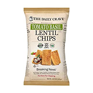 The Daily Crave Lentil Chips, Tomato Basil, 4.25 Oz (Pack Of 8) 4 G Protein, Gluten-Free, Non-Gmo, Kosher, Crunchy