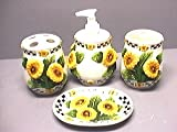 SUNFLOWERS 3D Bathroom Bath Set Sunflowers NEW