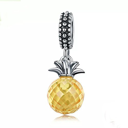Pineapple Charm 925 Sterling Silver Fruits Charm Beads for Fashion Charms Bracelet & (Authentic Pandora Bead)