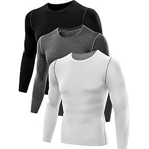 Neleus Men's 3 Pack Athletic Compression Sport Running T Shirt Long Sleeve Base Layer,Black,Grey,Whie,US L,EU XL
