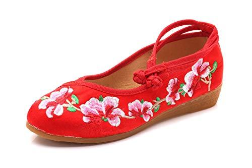 Caminar Ganado de Mujer Baile Tela Gules y Zapatos de Madre bajo Ocio Zapatos Bordada Zapatos tacón Zapatos Alpargatas de Zapatos de Merceditas de Suave tendón Bordado Fondo de wX4S1Rqy