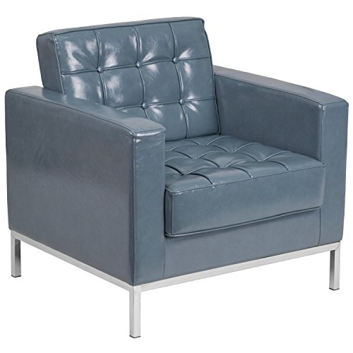 (Flash Furniture HERCULES Lacey Series Contemporary Gray Leather Chair with Stainless Steel Frame)