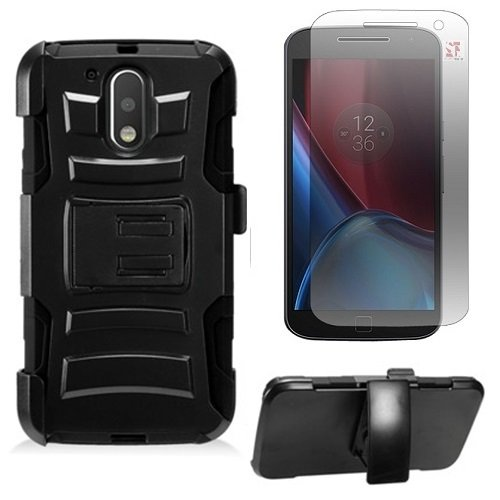 Motorola Moto G4 Plus XT1644 / Moto G4 XT1625 / Moto G 4th Gen. Protective Armor Case [SlickGears™] Heavy Duty Dual Layer Work Case + Belt Clip Carrying Holster + Screen protector Combo (Black) (G Screen Motorola)