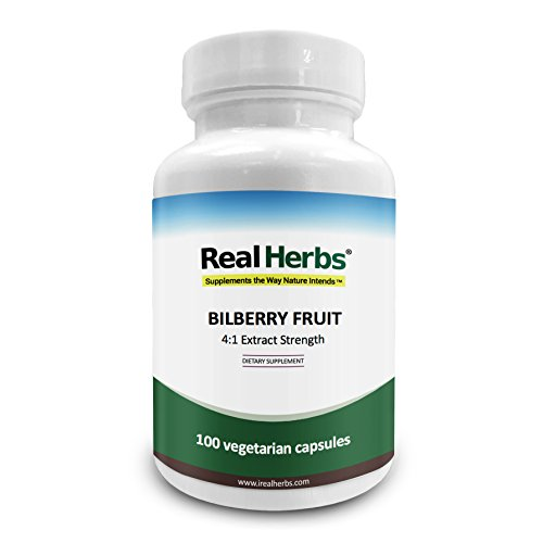Real Herbs Bilberry Extract – Derived from 1,500mg of Bilberry Fruit with 4 : 1 Extract Strength – Promotes Vision & Blood Circulation, Improves Cardiovascular Health – 100 Vegetarian Capsules