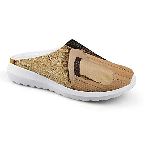 Western Decor Stylish Summer Mesh Sandals,Snake Skin Cowboy Boots Timber Planks in Barn with Hay Old West Austin Texas for Women,US 11 (Best Cowboy Boots In Austin Texas)
