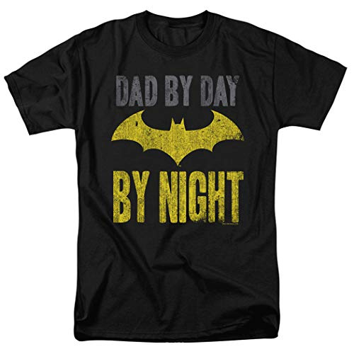 Popfunk Batman Dad by Day T Shirt for Father's Day & Exclusive Stickers (Large) Black