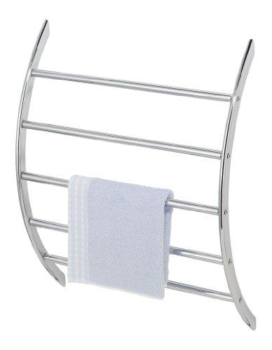 WENKO 15450100 Exclusiv Wand-Handtuchhalter mit 5 Stangen, Stahl, 56 x 70 x 17 cm, Chrom