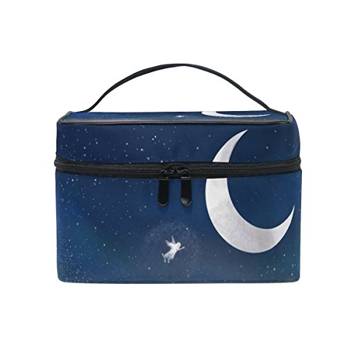 SAVSV Angels In The Night Sky Travel Makeup Bags With Zipper