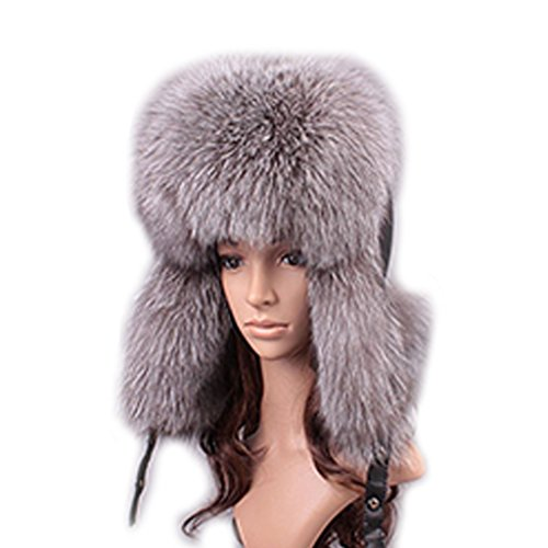 UK.GREIFF Women's Trendy Warm Fox Fur Winter Cap Bomber Hat Grey