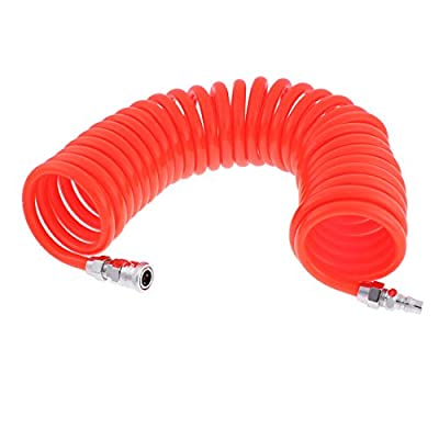uxcell 9 Meters Length 12mm x 8mm Polyurethane Coiled Air Hose Tube Orange