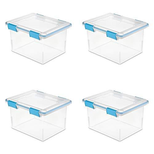 Sterilite 19334304 32 Quart/30 Liter Gasket Box, Clear with Blue Aquarium Latches and Gasket, ()