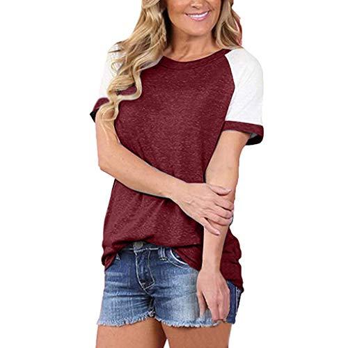 iTLOTL Ladies Summer Fashion Short Sleeve Tops Colorblocked Casual Simple Tops(Medium,Red)