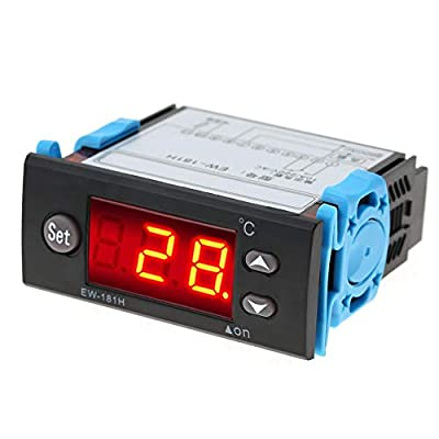 Digital Temperature Controller, EW-181H Digital Temperature Controller Thermostat EW-181H Temperature Control Meter 10A 3×1.4×3 In