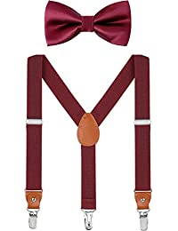 Child Kids Suspender Bowtie Sets - Y Shape Adjustable Suspender with Silk Bowties Gift Idea for Boys and Girls (Wine red + wine red bowtie, 31 inch (8 years - 5 feet tall))