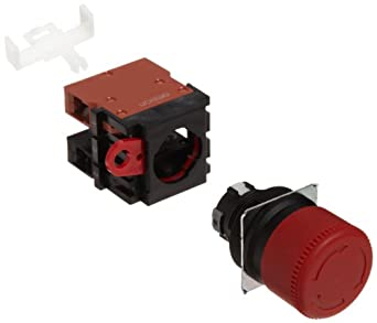 Omron A22E-S-11 Emergency Stop Operation Unit and Switch, Screw Terminal, IP65 Oil-Resistant, Non-Lighted, Push-Lock Turn-Reset Operation, Red, 30mm Diameter, Single Pole Single Throw Normally Open and Single Pole Single Throw Normally Closed Contacts