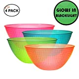 TigerChef 100 Ounce Neon Glow In The Dark Under Blacklight Colored Heavy Duty Disposable Round Plastic Bowls Set In Pink Blue Green Orange Set Of 4 (100 Oz Bowl, Multi-Colored)