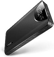 モバイルバッテリー大容量12000mahLCDスクリーン残量表示薄型軽量スマホ充電器急速充電2USB出力ポート持ち運び充電器iphone/ipad/Android対応PZX (ブラック)