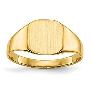 Diamond2Deal 14ct Yellow Gold Mens Signet Ring Solid Back for Him
