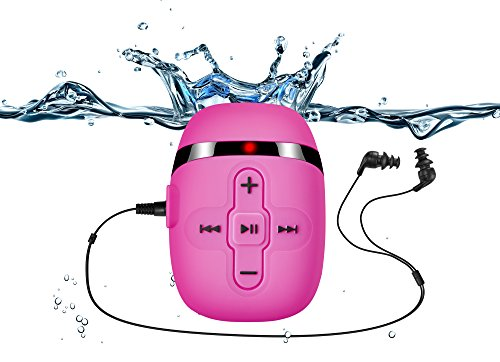 Sigomatech 8GB waterproof swimming mp3 player with short cord headphones(3 type), with audio extension cord for sort of sports, Shuffle feature--Pink (Mp3 Player Headphone)