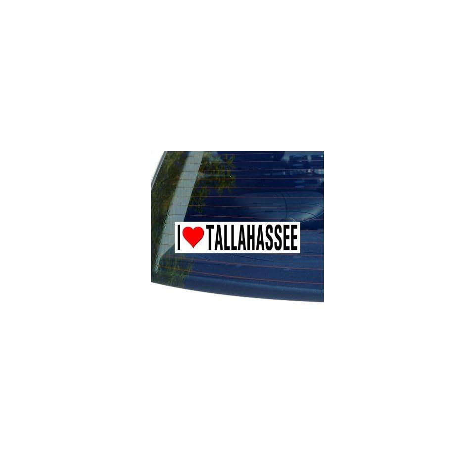 I Love Heart TALLAHASSEE   Florida Window Bumper Sticker