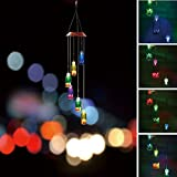 BALANSOHO Solar Mobile Wind Chimes 6 Wish Bottles Color-Changing Waterproof LED Hanging Lamp Night Lights for Outdoor Gardening Home Decoration Review