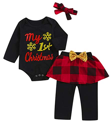 Mutiggee First Christmas Outfit Baby Girls Xmas Plaid Pant Clothing Sets (Black01, 3-6 Months)