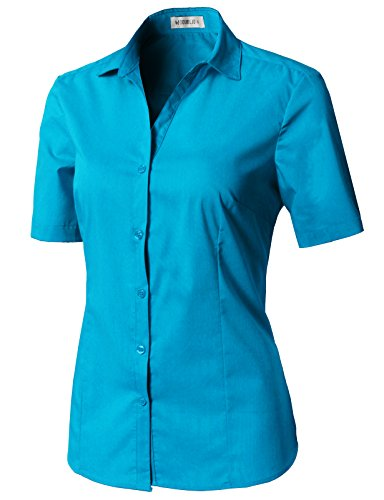 (CLOVERY Women's Basic Short Sleeve Slim Fit Button Down Turquoise L)