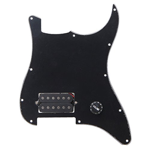Yibuy Black Prewired Pickguard W/ One Humbucker Knob for Electric Guitar