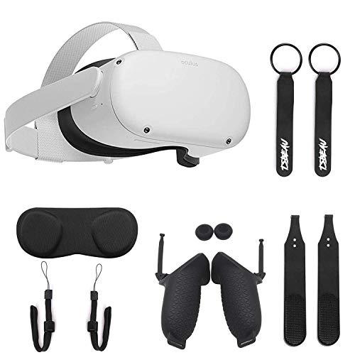 Oculus Quest 2-256 GB, blanco, avanzado All-in-One Virtual Reality VR Gaming Headset, controladores táctiles, paquete con correa para nudillos TSBEAU y cubierta de agarre y correa de mano y juego de accesorios de cubierta antipolvo para lentes VR
